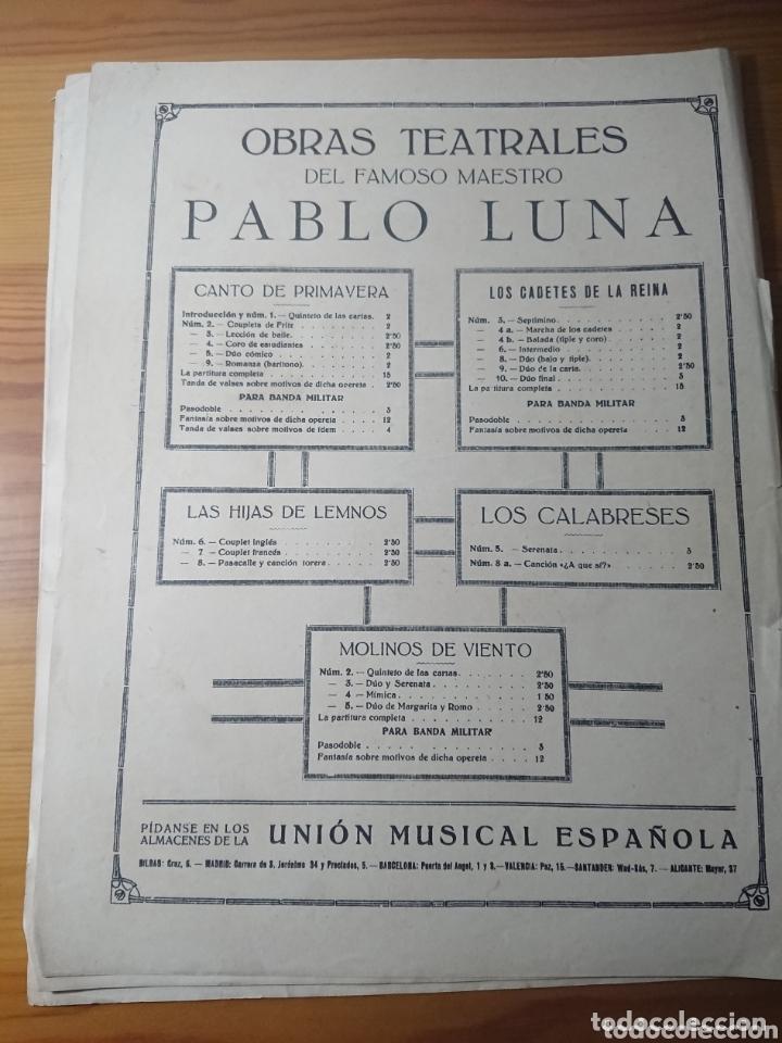 Partituras musicales: Molinos de Viento, Opereta de Pablo Luna, antigua partitura ppios de siglo - Foto 3 - 174264942
