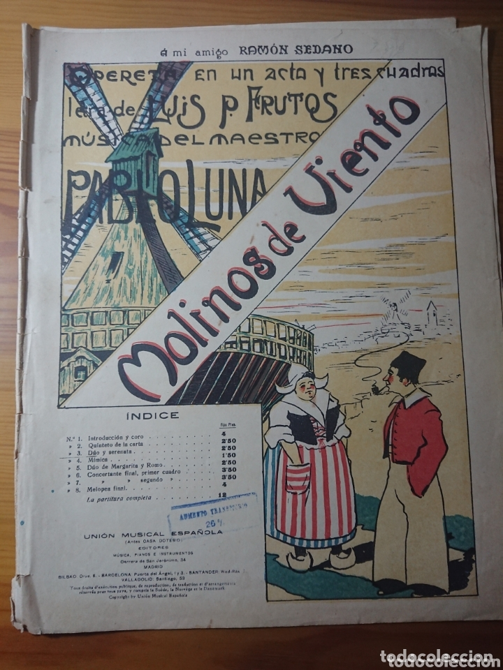MOLINOS DE VIENTO, OPERETA DE PABLO LUNA, ANTIGUA PARTITURA PPIOS DE SIGLO (Música - Partituras Musicales Antiguas)