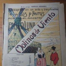Partituras musicales: MOLINOS DE VIENTO, OPERETA DE PABLO LUNA, ANTIGUA PARTITURA PPIOS DE SIGLO. Lote 174264942