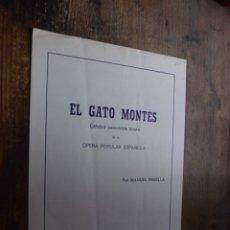 Partituras musicales: PARTITURA DE EL GATO MONTES, PASODOBLE. Lote 174436282