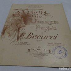 Partituras musicales: PARTITURA TESORO MIO VALZER PER PIANFORTE DI E. BECUCCI. Lote 175217388