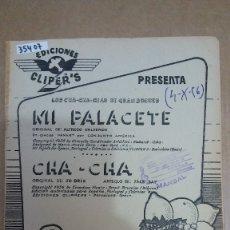 Partituras musicales: 35407 - PARTITURAS - 2 CANCIONES - MI PALACETE Y CHA CHA - ED. CLIPPER'S. Lote 177143230