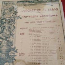 Partituras musicales: L ORCHESTRE AU SALON OUVRAGES CLASSIQUES PIANO FLAUTA VIOLIN VIOLONCELLE 1890-1900. Lote 177302717