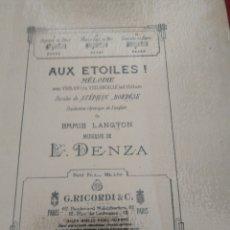 Partituras musicales: DENZA AUX ETOILES MELODIE VIOLON Y VIOLONCELLE RICORDI . Lote 177341935
