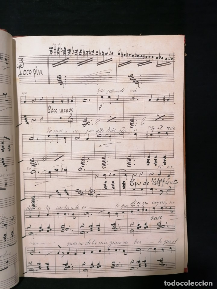 Partituras musicales: Antiguo libro de partituras escrito a mano - Foto 3 - 178239240