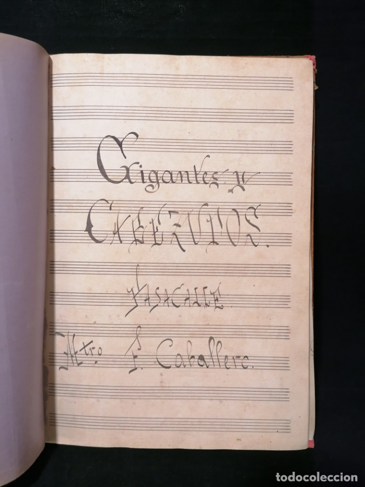 Partituras musicales: Antiguo libro de partituras escrito a mano - Foto 9 - 178239240