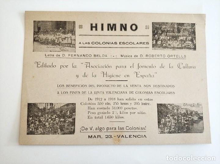 HIMNO A LAS COLONIAS ESCOLARES LETRA FERNANDO BELDA MUSICA ROBERTO ORTELLS VALENCIA 1918 (Música - Partituras Musicales Antiguas)