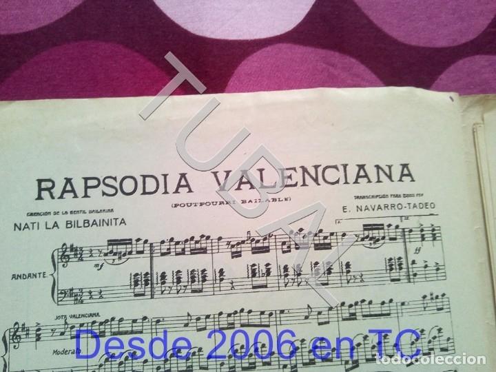 Partituras musicales: TUBAL RAPSODIA VALENCIANA ENRIQUE NAVARRO TADEO NATI LA BILBAINITA PARTITURA ANTIGUA P1 - Foto 2 - 178696746