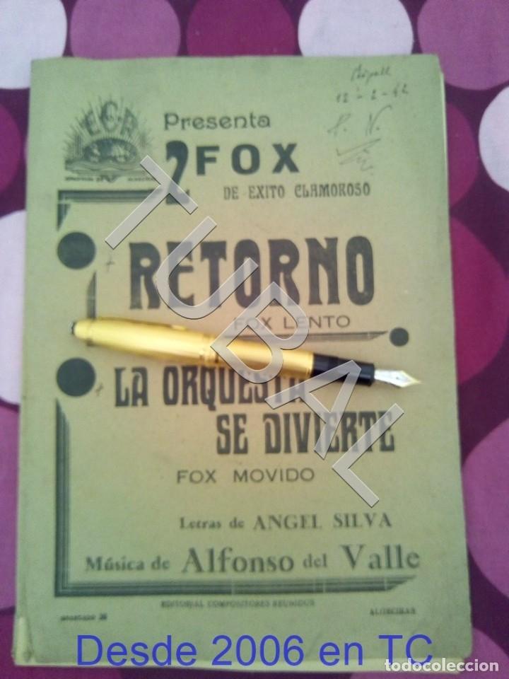 TUBAL RETORNO FOX ALFONSO DEL VALLE 1942 PARTITURA ANTIGUA P1 (Música - Partituras Musicales Antiguas)