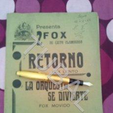 Partituras musicales: TUBAL RETORNO FOX ALFONSO DEL VALLE 1942 PARTITURA ANTIGUA P1. Lote 178711411