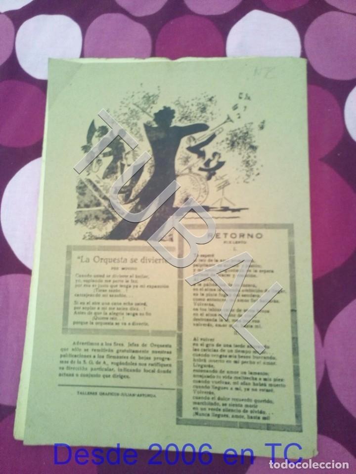 Partituras musicales: TUBAL RETORNO FOX ALFONSO DEL VALLE 1942 PARTITURA ANTIGUA P1 - Foto 16 - 178711411