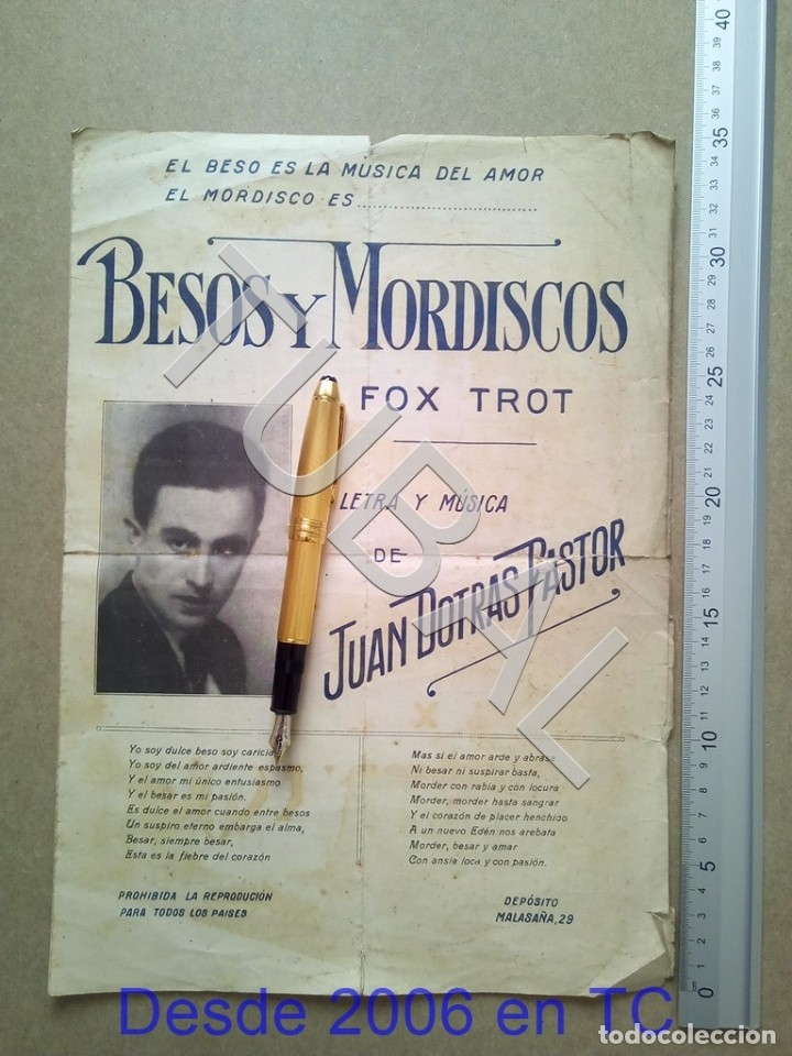 TUBAL ANTIGUA PARTITURA JUAN DOTRAS PASTOR BESOS Y MORDISCOS FOX TROT P1 (Música - Partituras Musicales Antiguas)
