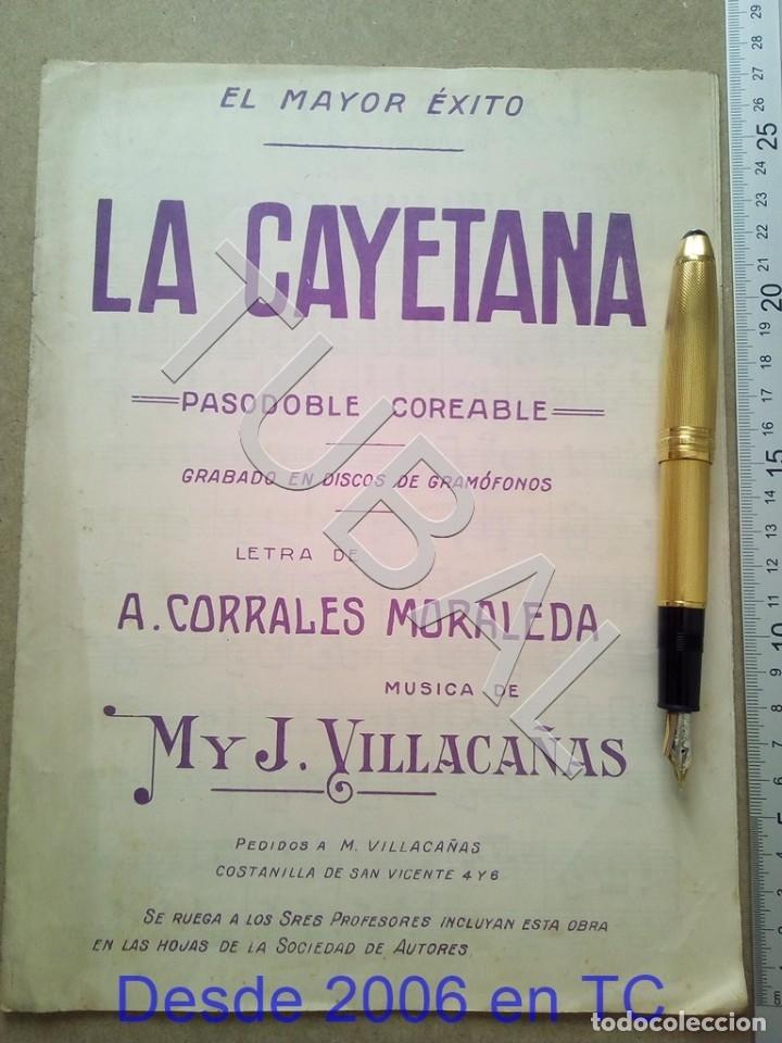 TUBAL ANTIGUA PARTITURA MANUEL Y J VILLACAÑAS LA CAYETANA PASODOBLE P1 (Música - Partituras Musicales Antiguas)