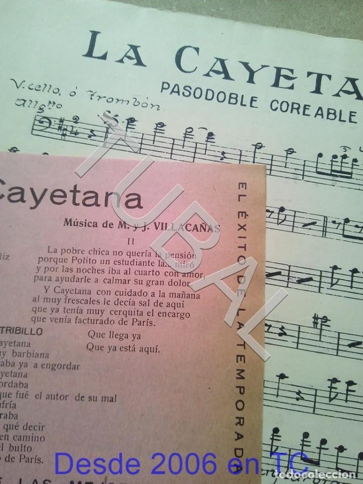 Partituras musicales: TUBAL ANTIGUA PARTITURA MANUEL Y J VILLACAÑAS LA CAYETANA PASODOBLE P1 - Foto 3 - 178919291