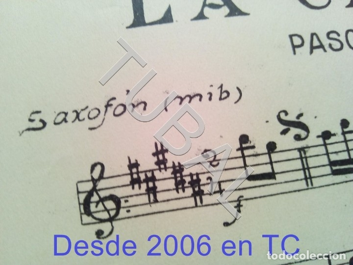 Partituras musicales: TUBAL ANTIGUA PARTITURA MANUEL Y J VILLACAÑAS LA CAYETANA PASODOBLE P1 - Foto 5 - 178919291