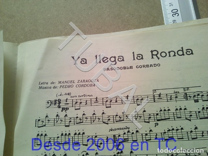 Partituras musicales: TUBAL ANTIGUA PARTITURA PEDRO CORDOBA YA LLEGA LA RONDA 1934 P1 - Foto 5 - 178919486