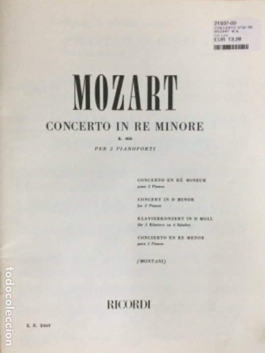 Partituras musicales: PARTITURA MOZART, CONCERTO No. 17, in G mayor For the Piano K. 453 - Foto 2 - 179063681
