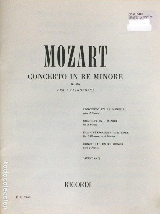 Partituras musicales: PARTITURA MOZART, CONCERTO IN RE MINORE K.466, EDITORIAL RICORDI - Foto 2 - 179065928