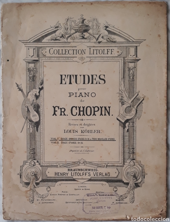 PARTITURA ETUDES PARA PIANO CHOPIN (Música - Partituras Musicales Antiguas)