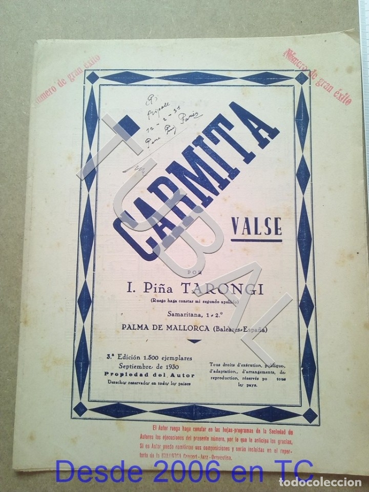 TUBAL PARTITURA ANTIGUA IGNACIO PIÑA TARONGI CARMITA VALS 1931 P1 (Música - Partituras Musicales Antiguas)