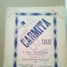 Partituras musicales: TUBAL PARTITURA ANTIGUA IGNACIO PIÑA TARONGI CARMITA VALS 1931 P1. Lote 179172806