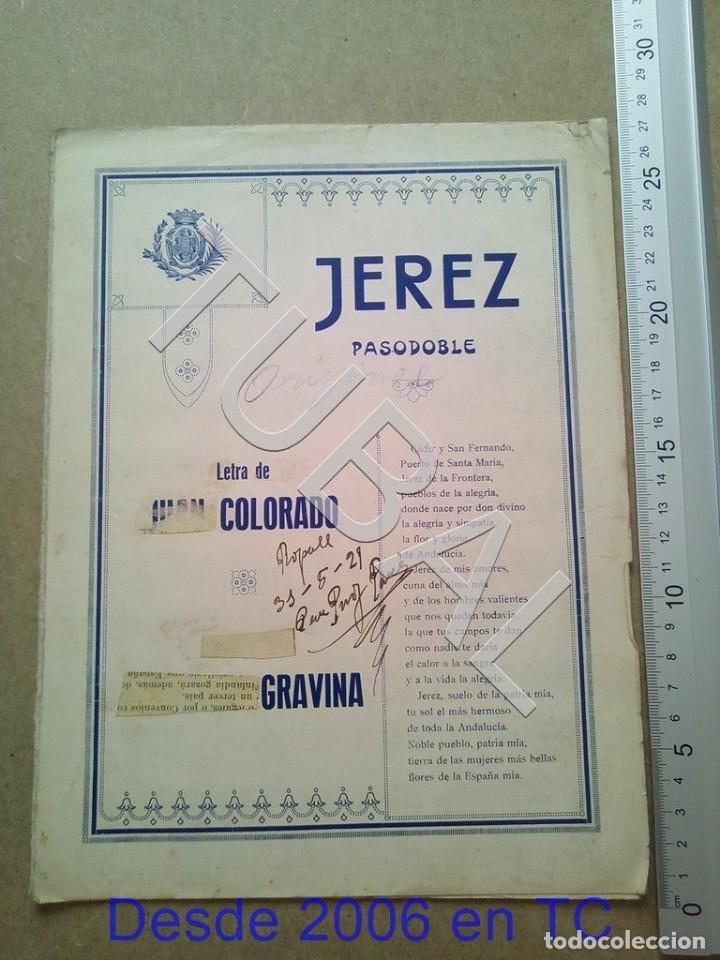 TUBAL PARTITURA ANTIGUA IJEREZ PASODOBLE GRAVINA 1929 P1 (Música - Partituras Musicales Antiguas)