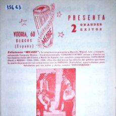 Partituras musicales: 35663 - PARTITURAS - 2 CANCIONES - COPA ROCK Y NEGRA CHA CHA CHA - EDICIONES MEABE. Lote 179515157