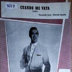 Partiture musicali: 35711 - PARTITURAS - 2 CANCIONES - CUANDO ME VAYA Y NUEVA ORLEANS - ED MUSICALES HISPAVOX. Lote 179560158