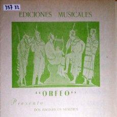 Partituras musicales: 35732 - PARTITURAS - 2 CANCIONES - TRADUCTOR Y TUS PLAYAS, TU SOL Y TU LUNA - ED MUSICALES ORFEO . Lote 179561117