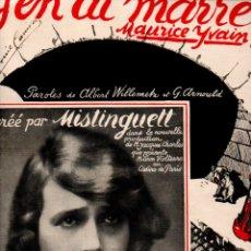 Partituras musicales: M. YVAIN - MISTINGUETT : J'EN AI MARRE! (SALABERT, PARIS, 1921) SHIMMY. Lote 180966161