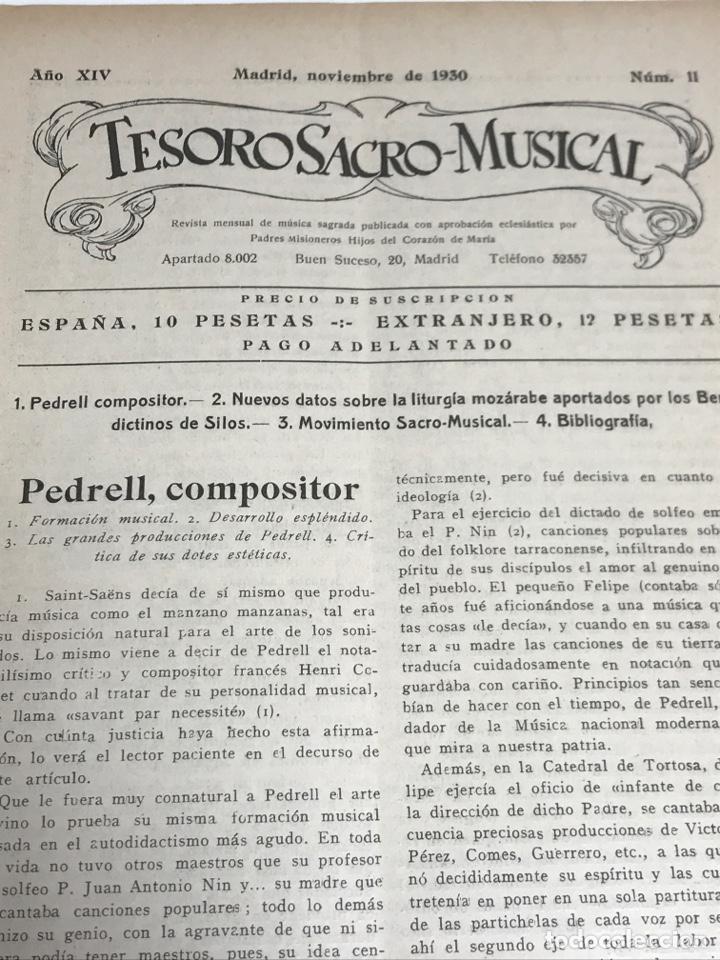 Partituras musicales: TESORO SACRO MUSICAL 1930 - Foto 3 - 181944157