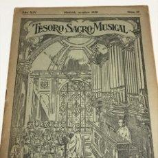 Partituras musicales: TESORO SACRO MUSICAL 1930. Lote 181944557