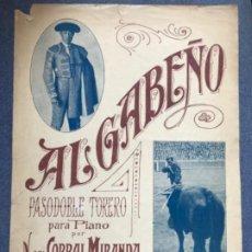 Partituras musicales: ALGABEÑO PASODOBLE TORERO PARA PIANO N DEL CORRAL MIRANDA PARTITURA PASODOBLE TORERO ALGABEÑO 35X25 . Lote 183659511
