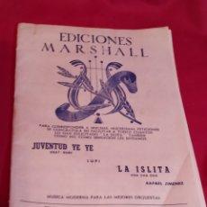 Partituras musicales: LIBRETO PARTIRURAS EDICIONES MARSHALL - 1969. Lote 184354382