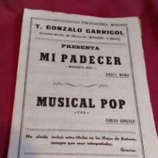 Partituras musicales: LIBRETO PARTITURAS EDICIONES MUSICALES T. GONZALO GARRIGOL - 1970. Lote 184355082