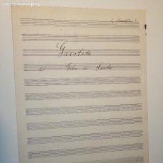 Partituras musicales: GAVOTITA DE FELIX DE SANTOS. FIRMADA C. SEBASTIA. UNA HOJA DE NOTACIÓN MANUSCRITA PARA MANDOLINA.. Lote 184460718