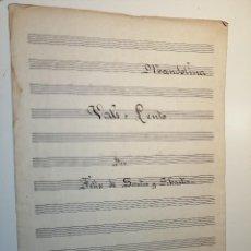 Partituras musicales: VALS LENTO PARA MANDOLINA POR FELIX DE SANTOS SEBASTIAN. 2 PÁGINAS DE NOTACIÓN MUSICAL MANUSCRITA.. Lote 184461356
