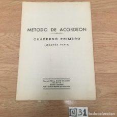 Partituras musicales: MÉTODO DE ACORDEÓN. Lote 191006638