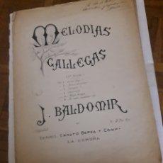 Partituras musicales: MELODÍAS GALLEGAS DE J. BALDOMIR, DEDICADA POR EL AUTOR. Lote 191262885