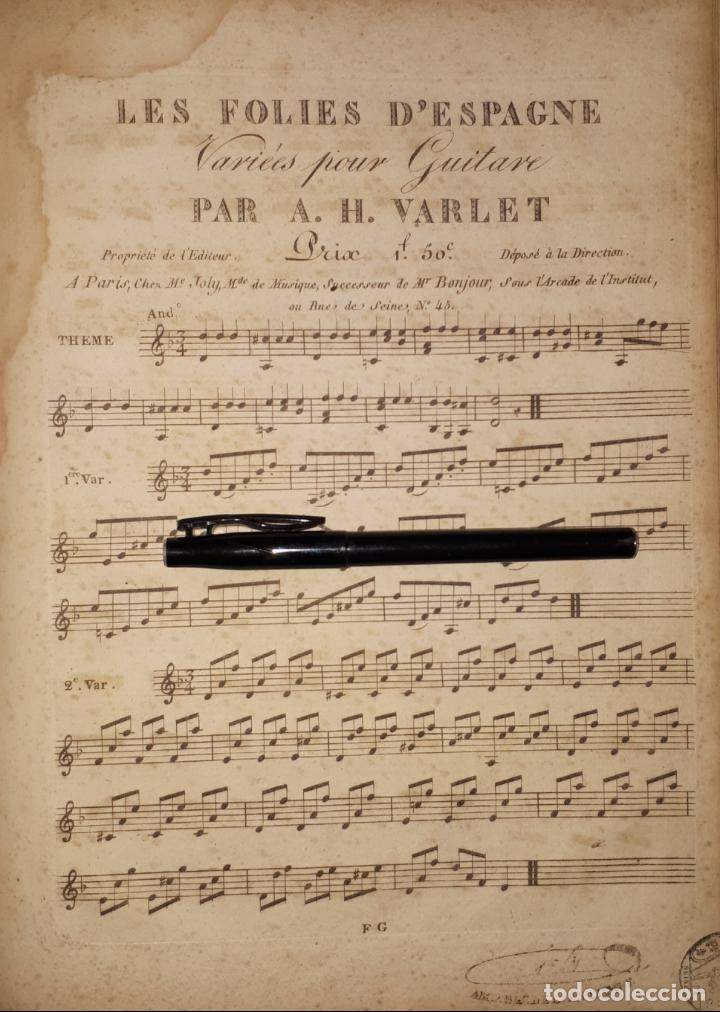 LES FOLIES D'ESPAGNE, VARIÉES POUR GUITARE , PAR A. H. VARLET GUITARRA 1802 (Música - Partituras Musicales Antiguas)