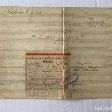 Partituras musicales: AUGUSTO ALGUERO ALGUERO- PARTITURA MANUSCRITA DE CLARO DE LUNA PRESENTADA A LA SOCIEDAD DE AUTORES. Lote 193179313