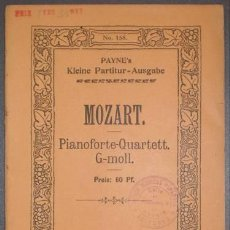Partituras musicales: MOZART, W.A: QUARTETT NO 1 G-MOLL FÜR PIANOFORTE, VIOLINE, VIOLA UND VIOLONCELL.. Lote 194320151