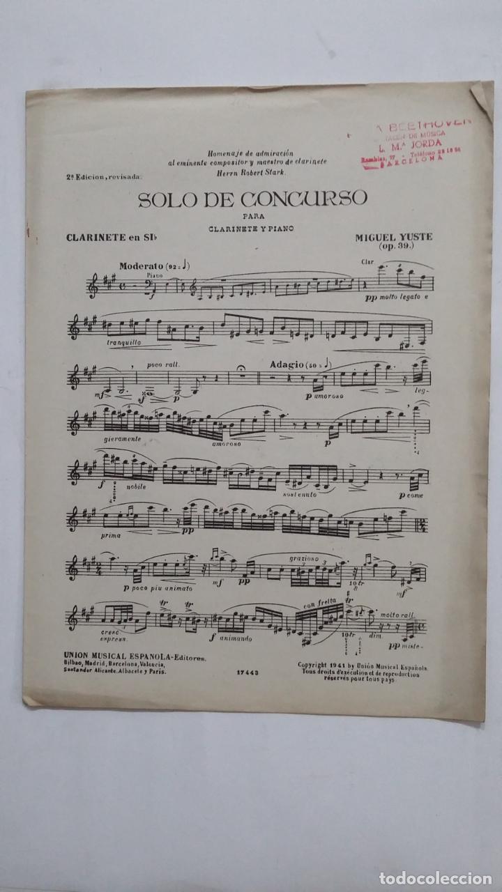 SOLO DE CONCURSO PARA CLARINETE EN SI BEMOL Y PIANO. PARTITURA. UNION MUSICAL ESPAÑOLA. TDKR58 (Música - Partituras Musicales Antiguas)