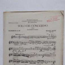 Partituras musicales: SOLO DE CONCURSO PARA CLARINETE EN SI BEMOL Y PIANO. PARTITURA. UNION MUSICAL ESPAÑOLA. TDKR58. Lote 194877107