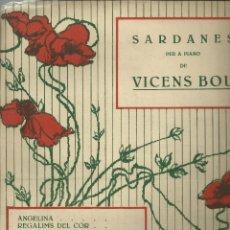 Partituras musicales: GIRONA AMADA. SARDANA PER A PIANO DE VICENS BOU, CARPETILLA DE 4 PÁG DE PARTITURA. Lote 195017902