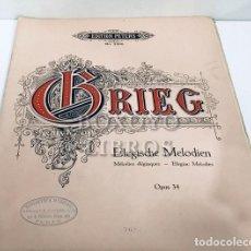 Partituras musicales: ZWEI ELEGISCHE MELODIEN NACH GEDICHTEN V A.O. VINGE FÜR STREICHORCHESTER KOMPONIERT VON EDVARD GRIEG. Lote 195062012