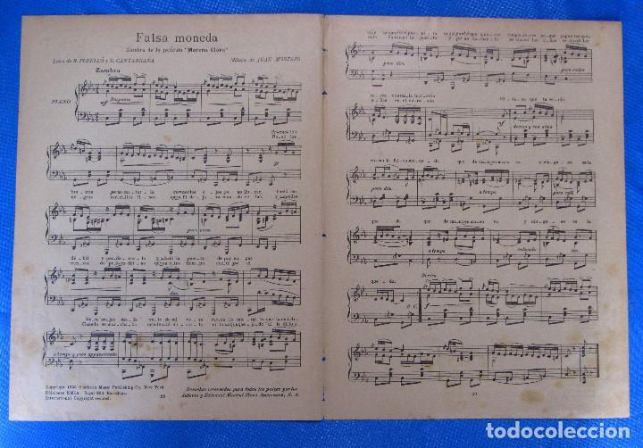 Partituras musicales: PARTITURA FALSA MONEDA, DE LA PELÍCULA MORENA CLARA. IMPERIO ARGENTINA, EMIA,1936. - Foto 2 - 195291822