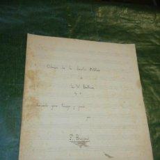 Partituras musicales: ADAGIO DE LA SONATA PATETICA DE BEETHOVEN, TRANS.TROMPA Y PIANO, L.BREMOND - MANS. VTE.ZARZO PITARCH. Lote 195313947