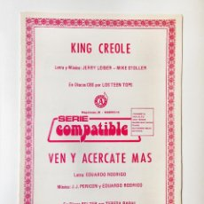 Partituras musicales: KING CREOLE,PARTITURAS. Lote 195438063