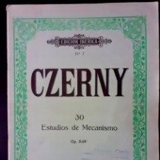 Partituras musicales: CZERNY 30 ESTUDIOS DE MECANISMO OP. 849. EDITORIAL BOILEU AÑO 1980. Lote 196203346